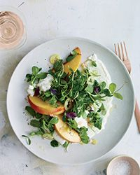 Burrata Salad with Peaches, Pickled Pepper and Pea Tendrils | Food & Wine