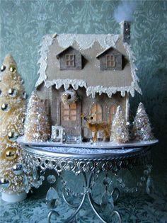 Vintage Style Putz Glitter Christmas House Bottle Brush Trees Reindeer Lighted