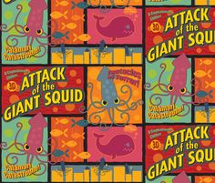 would be so fun for a kids playroom.  Squid Attack fabric by jennartdesigns on Spoonflower - custom fabric
