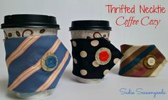 Thrift store or vintage men's neckties make the perfect coffee cozy for the cold winter months. Quick and easy sewing project- a great upcycle / repurpose craft! #sadieseasongoods