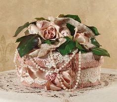 Oval Victorian Rose Keepsake / Hat Box / Trinket Box - Vintage Style - Hand Decorated