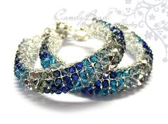 Swarovski bracelet, Silver Navy Blue Swarovski Crystal Bracelet by CandyBead