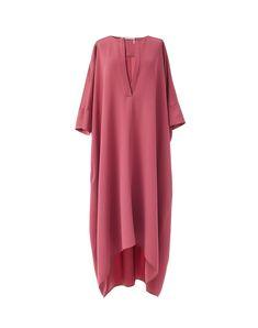 WILD ROSE MATTE CRÊPE SATIN KAFTAN DRESS | Agnona