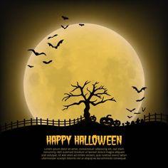 不気味な月夜のハロウィン背景イラスト