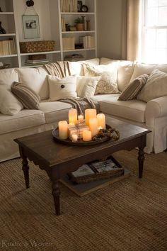 Coffee Table Centerpiece Ideas don't forget to go down the candle isle at homegoods….this little