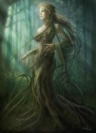 A dryad is a tree nymph, that is a female spirit of a tree, in Greek mythology. Giselle, Queen of the Dryads, Princess of Seelie. Magical Creatures, Fantasy Creatures, Fantasy Kunst, Fantasy Art, Dark Fantasy, Elfen Fantasy, Elfa, Greek And Roman Mythology, Greek Gods