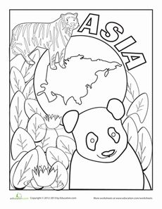 Color the Continents Asia Best Worksheets, Kindergarten