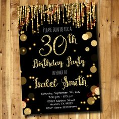 30th Birthday Invitation Gold Glitter Invitation by DigitAllParty
