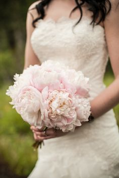Beautiful pink peonies in bridal bouquet (Image by Sugar & Soul Photography)