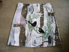 Twee Merels borduurwerk applicatie rok A-lijn rok door LUREaLURE