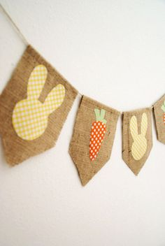 Items similar to MADE to ORDER - Shabby Easter Banner Bunny and Carrot Banner Bunting in Yellow by sweetcarolinehome on Etsy Easter Table Decorations, Holiday Decorations, Diy And Crafts, Arts And Crafts, Easter Banner, Diy Ostern, Easter Crafts, Easter Ideas, Easter Holidays