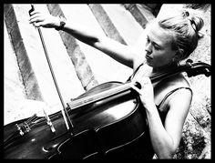 Cello player in black and white