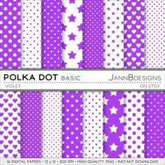 SALE 80% off Violet POLKA DOT Digital Paper Pack: by JAnnBdesigns