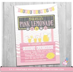 Lemonade Stand Invitation: Printable Girls by thepartystork