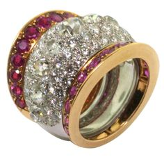 Great mother's ring... MAUBOUSSIN. Ruby and Diamond Ring.