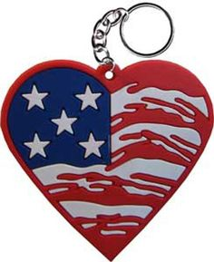 Licenses Products Red White and Blue Heart Rubber Keychain *** Details can be found by clicking on the image. (Note:Amazon affiliate link)