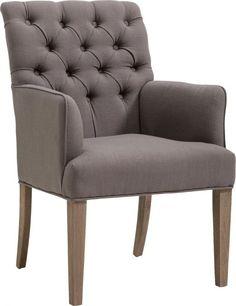 De eetkamerstoel Louise ademt nostalgie en romantiek. De vakkundig gecapitonneerde rugleuning en ranke houten stoelpoten in de kleur eiken grey geven aan deze stoel een uniek karakter om van te genieten. Dit allemaal voor een zeer scherpe prijs!
