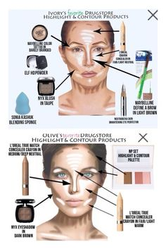 Ivory and Olive's Drugstore Contour and Highlighting Faves! I'm not sure if I'm ever going to bother with the whole contour thing, but it is fun to know. Beauty Make-up, Beauty Secrets, Beauty Hacks, Beauty Dupes, Beauty Products, Drugstore Beauty, Fashion Beauty, Hair Beauty, Makeup Dupes