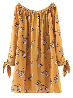 Floral Off Shoulder Shift Dress - YELLOW M  Style: Casual   Occasions: Causal   Material: Cotton Blend   Silhouette: Straight   Dress Type: Tunic Dress   Dresses Length: Mini   Collar-line: Off The Shoulder   Sleeves Length: Long Sleeves   Pattern Type: Floral   With Belt: No   Season: Fall,Spring,Summer   Pattern Yellow shift dress,60s floral,Halter, yellow