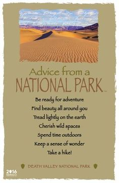 Advice from a National Park- Death Valley National Park - Frameable Art Postcard