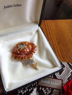 JUDITH LEIBER flower brooch in orange yellow enamel by BrensAttic