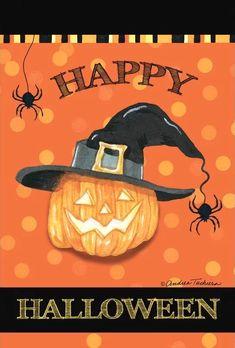 Happy Halloween Pictures, Halloween Images, Holidays Halloween, Halloween Stuff, Halloween Halloween, Garden Flag Stand, Garden Flags, Pumpkin Garden, Evergreen Flags