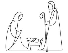 Illustration of Nativity scene with Holy Family one line drawing vector art, clipart and stock vectors. Christmas Nativity Scene, Christmas Art, Christmas Projects, Holy Family, Family First, Family Family, Christmas Drawing, Christmas Illustration, Native Art