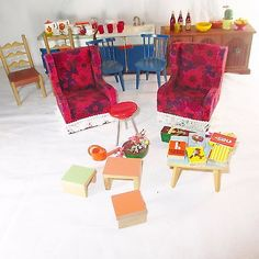 Vintage 50s -70s Lot of 58 Bodo Hennig Germany Dollhouse Furniture & Accessories