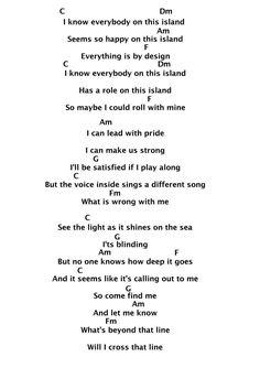 """How Far I'll go Lyrics + Chords for Ukulele from Disney's Moana!!"