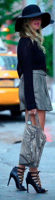 Wide Rim Hat. Shoes Adore along with Skirt.