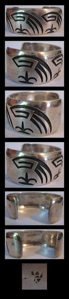 """BERNARD DAWAHOYA TERRIFIC VINTAGE HOPI INDIAN STERLING SILVER CUFF BRACELET   Handsome vintage Hopi Indian sterling silver is signed with the Bernard Dawahoya hallmark. $1,175.00. Measures approximately 5-15/16"""" around the inside of the bracelet plus a 1-1/4"""" gap. Measures just over 1"""". Weighs 56.4 grams."""