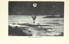 """British Library digitised image from page 51 of """"The Half Hour Library of Travel, Nature and Science for young readers"""" The Time Machine, Library Images, Painting Collage, Above The Clouds, Space And Astronomy, Book Images, Wood Engraving, British Library, Ink Art"""