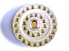 Vintage Americana Presidential Plate Featuring JFK by JackpotJen, $16.99