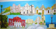 Acrilici su tela 100x200 - il bello della Puglia: la Muraglia barese, Castel del Monte, Cattedrale San Nicola, Trulli Alberobello, Ulivi, Teatro Petruzzelli, Colonna dell'infame nel borgo antico di Bari, Lungomare barese