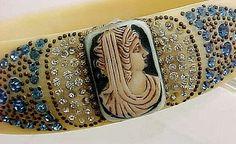 1920s Art Deco Egyptian Revival Sparkle Bracelet, celluloid