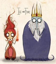 Flame Princess and The Ice King, Tim Burton style - Adventure Time