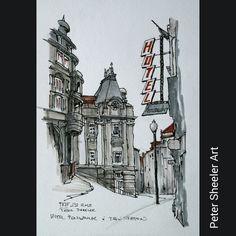 """Urban sketch. Peninsular Hotel and  Sao Bento train station painted on location <a href=""""http://www.ebay.ca/usr/sheelerart"""" rel=""""nofollow"""" target=""""_blank"""">www.ebay.ca/...</a> . <a class=""""pintag searchlink"""" data-query=""""%23town"""" data-type=""""hashtag"""" href=""""/search/?q=%23town&rs=hashtag"""" rel=""""nofollow"""" title=""""#town search Pinterest"""">#town</a> <a class=""""pintag searchlink"""" data-query=""""%23urb..."""