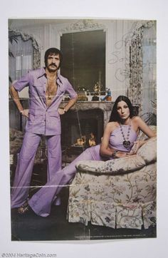 Sonny & Cher in matching outfits.of course! Charlotte Rampling, Twiggy, Alexa Chung, Mode Disco, 70s Fashion, Vintage Fashion, Lavender Outfit, Divas, 70s Mode