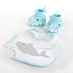 """Chomp & Stomp"" Shark Bib and Booties Gift Set I love this because Danielle & Brett found out they were having a girl during Shark Week 2014."