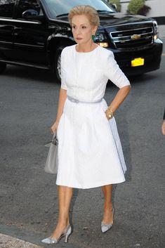 Carolina Herrera. #white #carolinaherrera. I love more modest necklines for older women. Very elegant.