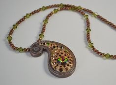 Bronze Clay Pendant With Swarovski Crystals by craftinghooker, $30.00