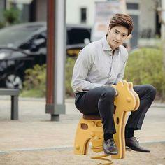 Sung Hoon. How can he look so sexy and adorable at the same time, sitting on a toy horse.
