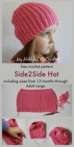 Side2Side Hat - Free Crochet pattern in 6 sizes (12 months - Adult Large) on myhobbyiscrochet.com
