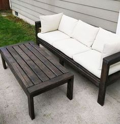 Build your own outdoor sofa with just 11 Ana White plans include step by step diagrams and shopping and cut list. We also have a plans to convert this sofa to an outdoor sectional, a matching outdoor coffee table plan, and outdoor wood finishing secrets. Outdoor Furniture Plans, Diy Garden Furniture, Deck Furniture, Furniture Projects, Furniture Design, Antique Furniture, Diy Projects, Modern Furniture, Furniture Movers