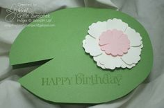 Lilypad card with punch art flowers (pop-up frog inside)