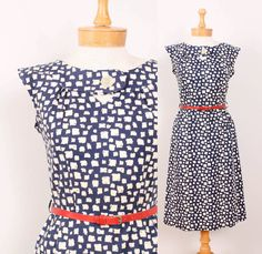1950s Day Dress  Womens  Navy Blue & Cream by pineapplemint, $15.00