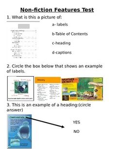 This is a simple end of the unit or lesson test or quiz to give to your kiddos to see if they've been paying attention and can easily identify the features of a non-fiction book. Nonfiction Text Features, Fiction And Nonfiction, First Grade, Teaching Ideas, Texts, Classroom, Printables, The Unit, Education
