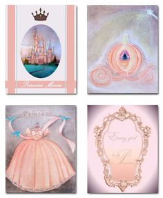 Art for Children, Princess Wall Art, SET OF 4 Art Prints, Baby Nursery, Girls room Decor, Princess, Custom Name, Castle, Kids Decor, Peach, Shabby