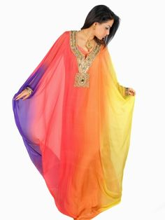 Rainbow Jalabiya Arab Fashion, Islamic Fashion, African Fashion, Middle Eastern Fashion, Pakistani Couture, Islamic Clothing, Indian Wear, I Dress, Designer Dresses