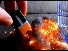 Touch both ends of a battery to steel wool to set it on fire